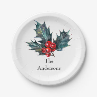 Vintage Holly Personalized Paper Christmas Plates
