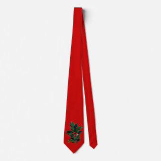 Vintage Holly Red Christmas Tie