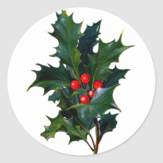 Vintage Holly Round Sticker