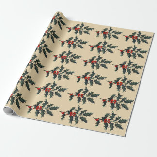 Vintage Holly Sprig Happy Holidays (Med. Image) Wrapping Paper