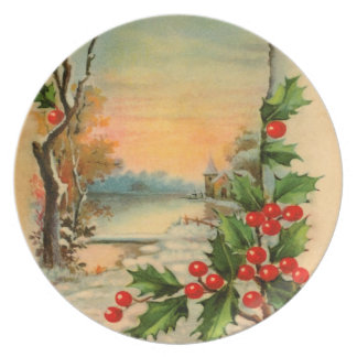 Vintage Holly Winter Plate