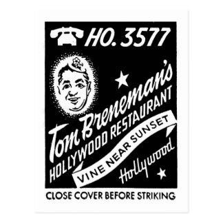 Vintage Hollywood Breneman's Restaurant Matchbook Postcard