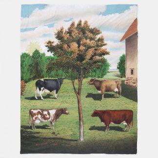 Vintage Holstein, Jersey, Ayrshire and Shorthorn Fleece Blanket