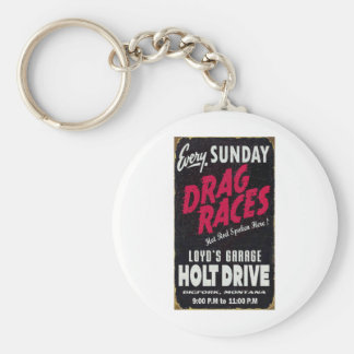 Vintage Holt Drive Drag Races distressed sign Key Chains