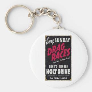Vintage Holt Drive Drag Races distressed sign Key Chains