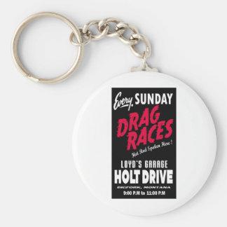 Vintage Holt Drive Drag Races sign Key Chain