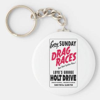 Vintage Holt Drive Drag Races sign Keychains