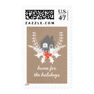 Vintage Home for the Holidays Postage Stamp