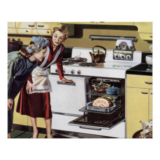 Vintage Home Interior, Mom in the Kitchen Cooking Poster