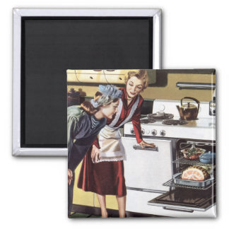 Vintage Home Interior, Mom in the Kitchen Cooking Square Magnet