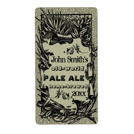Vintage HomeBrewed Beer Label Grey Shipping Label