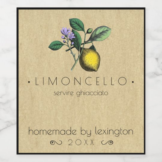 Vintage Homemade Limoncello Bottle Label |