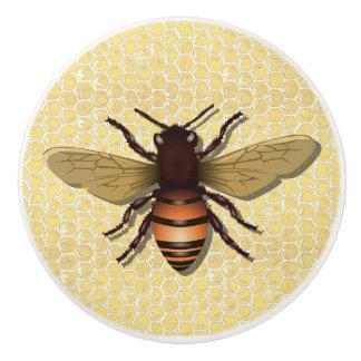 Vintage Honey Bee and Honey Comb Yellow Knob