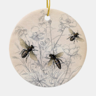 Vintage Honey Bee Art Print Christmas Ornament