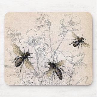 Vintage Honey Bee Art Print Mouse Pad