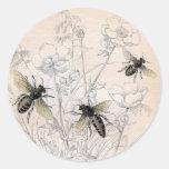 Vintage Honey Bee Art Print Round Sticker