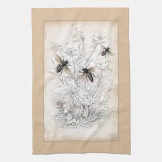 Vintage Honey Bee Art Print Tea Towel