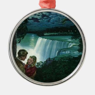 Vintage Honeymoon Love, Newlyweds at Niagara Falls Christmas Ornament