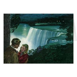Vintage Honeymoon Love, Newlyweds at Niagara Falls Greeting Card