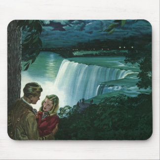 Vintage Honeymoon Love, Newlyweds at Niagara Falls Mouse Pad