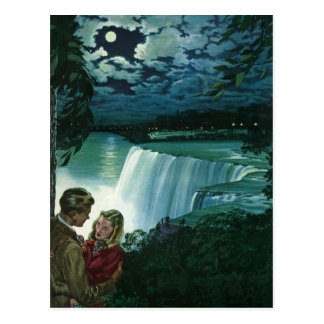 Vintage Honeymoon Love, Newlyweds at Niagara Falls Postcard