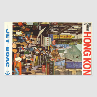 Vintage Hong Kong Airline Travel Advertisements Rectangular Sticker