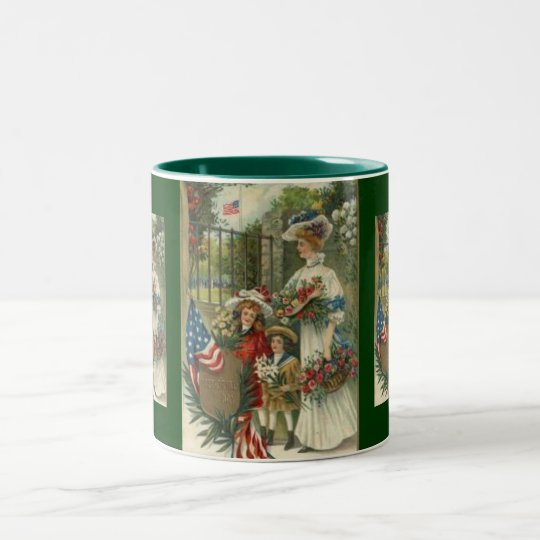 Vintage Honouring Memorial Day Two-Tone Coffee Mug