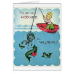 Vintage Hooked Mermaid Valentine's Day Card