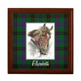 Vintage horse and Girl on Davidson Plaid Tile Box