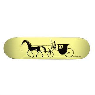 Vintage Horse Carriage pen ink drawing skateboard
