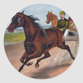 Vintage horse carriage racing print stickers