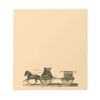 Vintage Horse Drawn Fire Engine Illustration Notepad