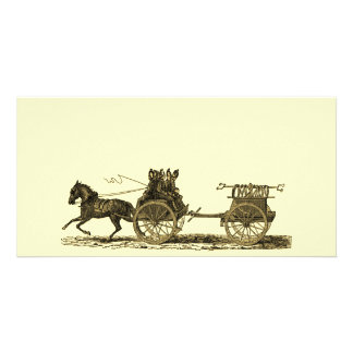 Vintage Horse Drawn Fire Engine Illustration Personalized Photo Card