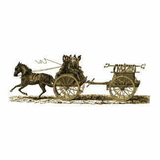 Vintage Horse Drawn Fire Engine Illustration Photo Sculpture Magnet