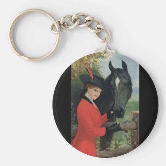 Vintage Horse Girl Red Coat Equestrian Sugar Cube Basic Round Button Key Ring