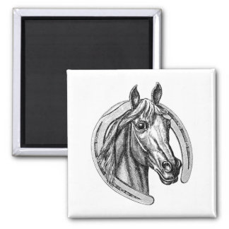 Vintage Horse & Horseshoe Fridge Magnet