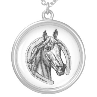 Vintage Horse & Horseshoe Sterling Silver Necklace