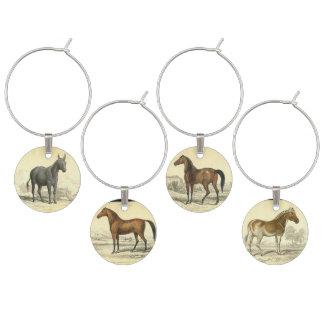 Vintage Horse Illustrations Wine Charm