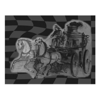 Vintage Horses Drawn Firemen Steam Engine Wagon Postcard