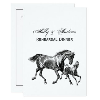 Vintage Horses Mother Baby Foal Card