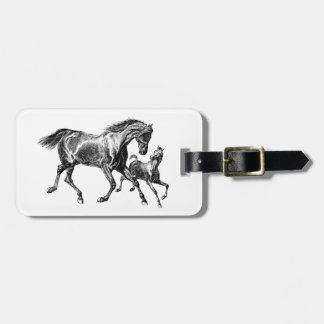 Vintage Horses Mother Baby Foal Luggage Tag