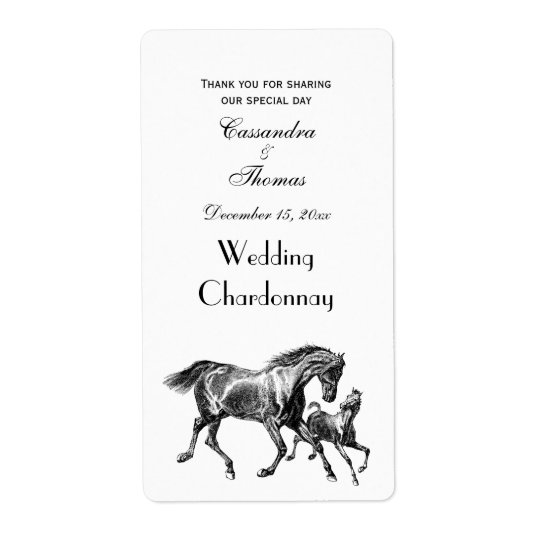 Vintage Horses Mother Baby Foal Shipping Label