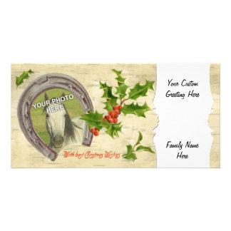 Vintage Horseshoe Holly Custom Photo Card