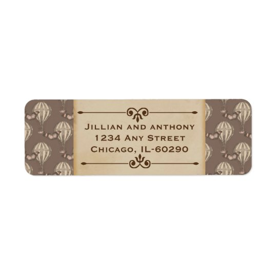 Vintage Hot Air Balloon Brown Return Address Label