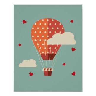 Vintage Hot Air Balloon Flying Against Cloudy Sky Poster