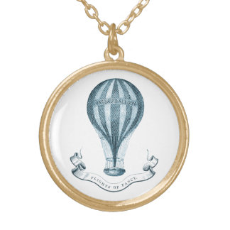 Vintage Hot Air Balloon Gold Tone Neaklace Round Pendant Necklace
