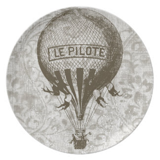 Vintage Hot Air Balloon Party Plate