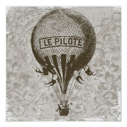 Vintage Hot Air Balloon Poster