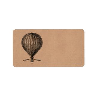 Vintage Hot Air Balloon Retro Airship Old Balloons Address Label