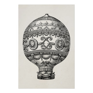 Vintage Hot Air Balloon Retro Airship Old Balloons Poster